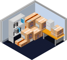 Packing boxes illustration in a neat storage unit maximising space