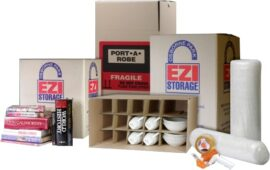Moving Package includes book box, port a robe box, bubble wrap, tape dispenser, carton with inserts for kitchen plates, mugs