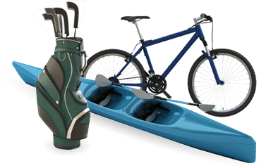 A set of golf clubs, a bike and a canoe