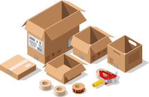Boxes and packing equipment