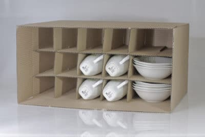 Kitchen moving box with compartments for plates, mugs, bowls